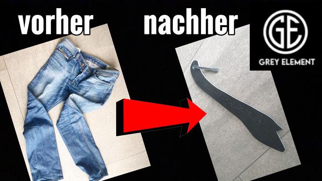 Ein Schiebestock aus einer alten Jeanshose