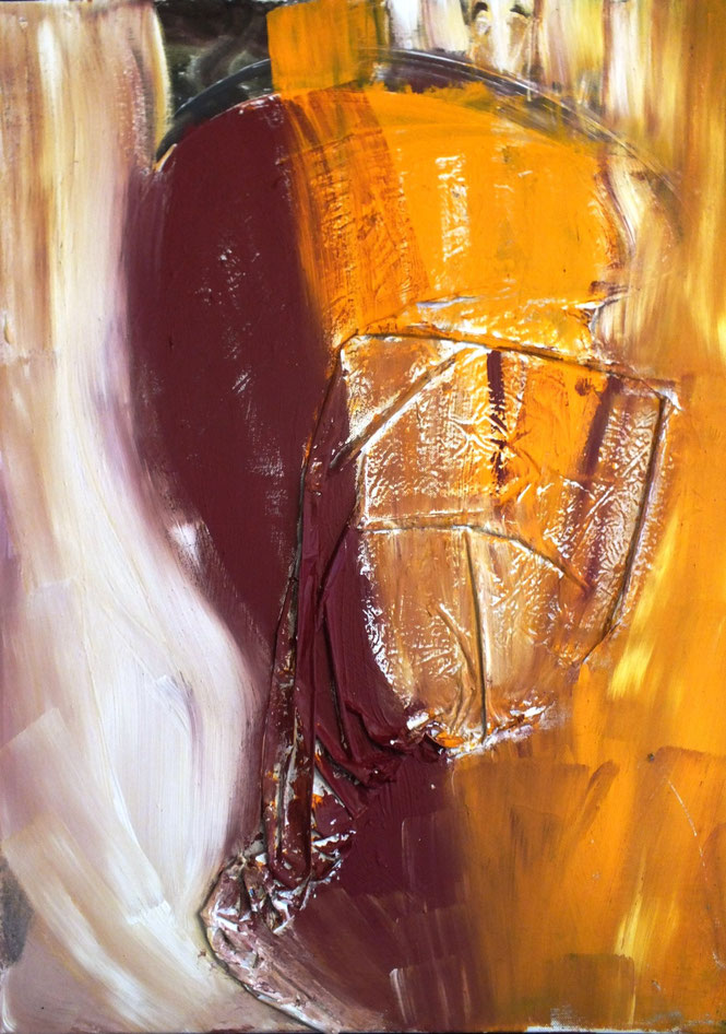 der mann hinter der maske, Acryl und Materialmix auf Leinwand, 60 x 80 cm