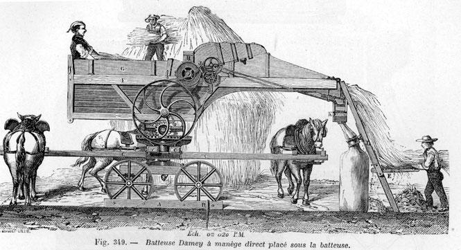 Zeichnung einer Dreschmaschine mit eingebautem Göpel aus einem technischen Lexikon des Jahres 1881. Quelle: httphttps://de.wikipedia.org/wiki/Dreschmaschine#/media/File:Batteuse_1881.jpg (Werk ist gemeinfrei)