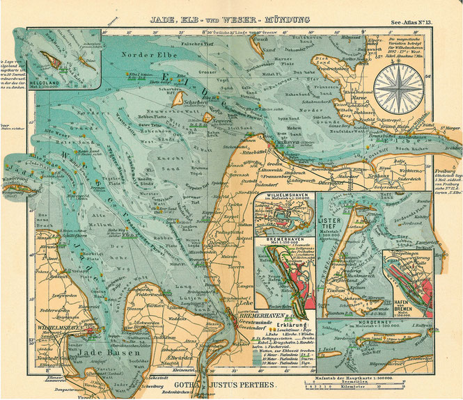 Zeitgenössische Landkarte der Elbe-, Jade- und Wesermündung des Jahres 1906.  (Dieses Werk ist gemeinfrei, weil seine urheberrechtliche Schutzfrist abgelaufen ist.) Quelle: https://de.wikipedia.org/wiki/Datei:Elbe_weser_m%C3%BCndung.jpg