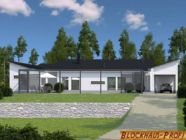 Ebenerdiges Blockhaus als Wohnhaus  -  Holzhaus kaufen und bauen - Holzhäuser
