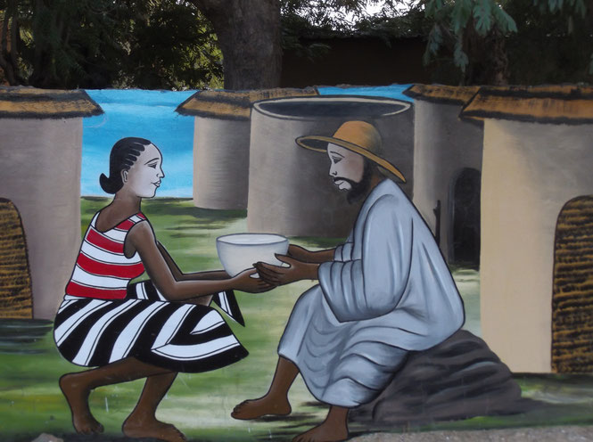 Fresque peinte sur l'enceinte du centre Centre de Gundi (un des quartiers de la paroisse de Réo) : ce centre a été construit par Frère Sylvestre, qui a consacré sa vie à l'accueil et la formation d'orphelins et de personnes handicapées.