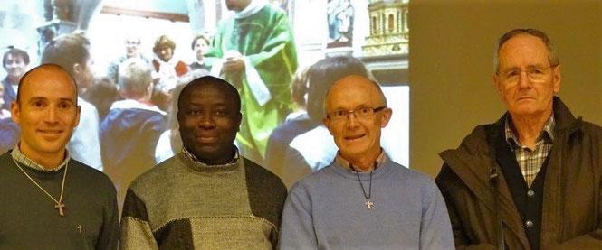 La photo officielle : P. Daniel de Kerdanet, P. Yves Tano, P. Yves Laurent (curé doyen) - Jean-Claude Bréhin (diacre)