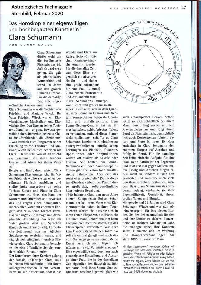 Das Horoskop einer eigenwilligen und hochbegabten Künstlerin, Clara Schumann, Komponist Robert Schumann, Ehefrau von Robert Schumann