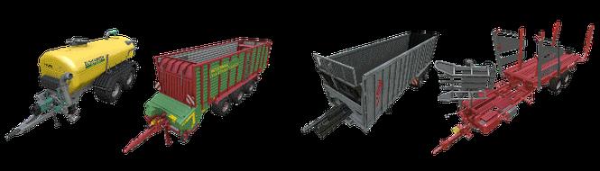 Anhänger/Trailer farming simulator 2015 mods Kipper Drehschemel Güllefässer Ladewagen Überladewagen Miststreuer