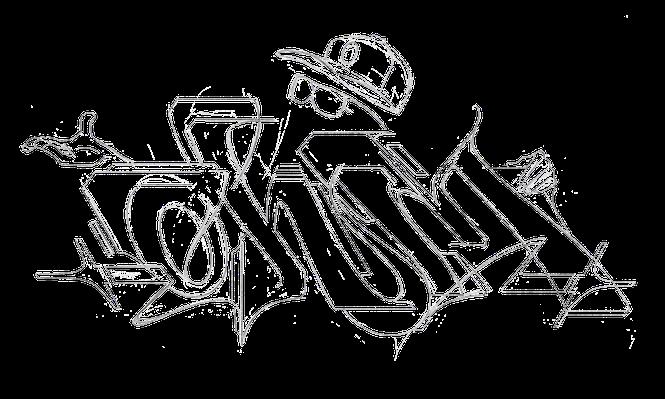 Eine Graffiti Skizze auf weißem Hintergrund. Zu sehen sind Bleistift Linien von einem Ohm Graffiti Schriftzug und einem unsichtbarem Mann. Man sieht nur seine Handschuh, seine Brille und sein Cap.
