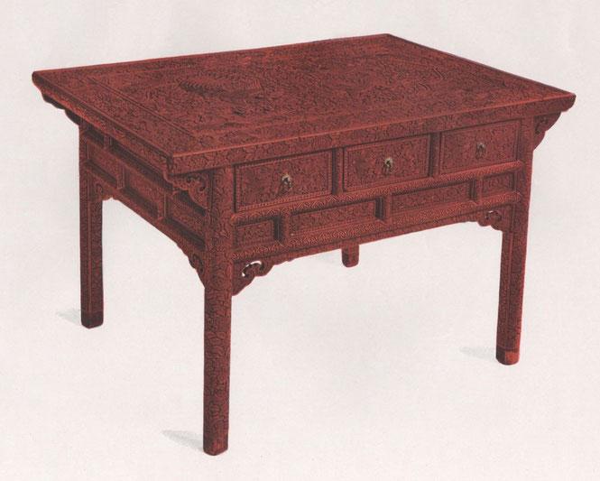 Robert Lockhart HOBSON. Cent planches en couleurs d'art chinois. Table impériale pour célébration de mariage. Laque rouge sculptée, ajourée fond chamois. Ming (Wan Li).