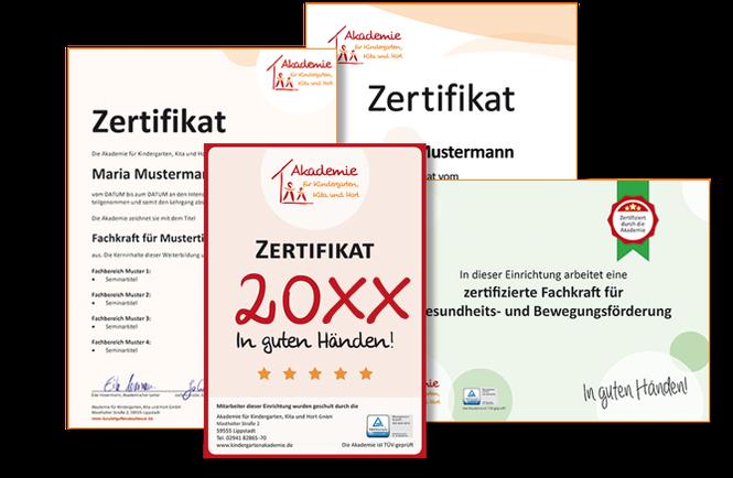 Teilnehmerzertifikat und Weiterbildungs-Siegel