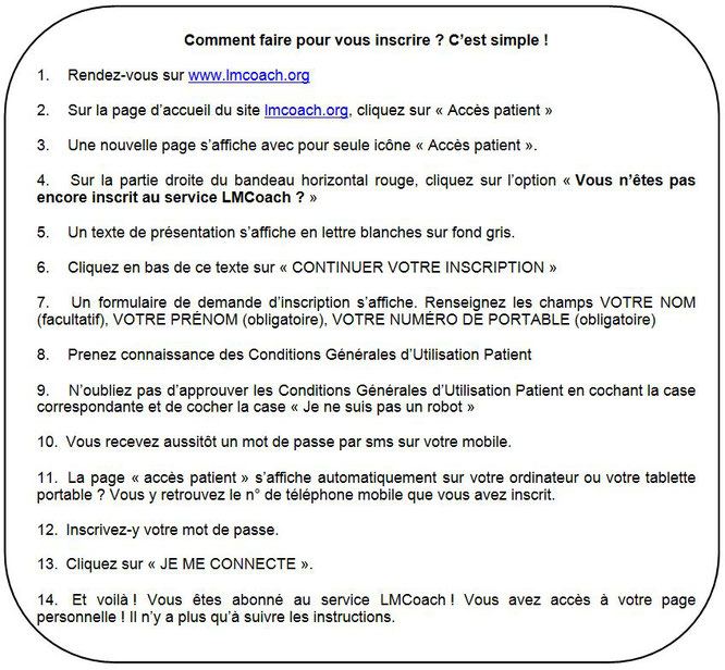 lmcoach lmc france leucemie myeloide chronique inscription application mobile outil patient observance compliance adherence