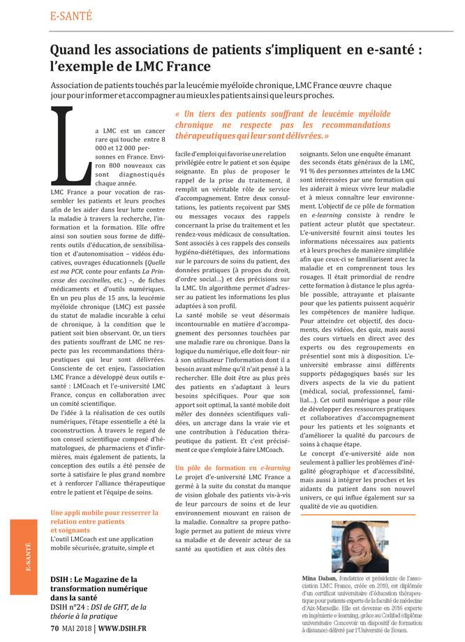 E-santé-Leucémie Myéloïde Chronique-LMC France- Patients-LMCoach-E-université-DSIH