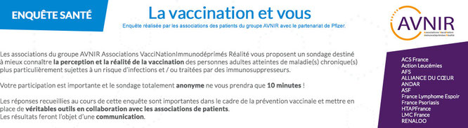 sondage vaccination avnir 2 lmc france cancer leucemie myeloide chronique