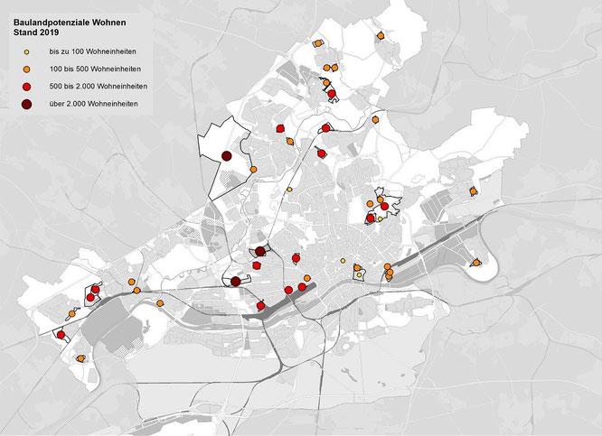 Baulandpotenziale Wohnen - Stand 2019, © Stadtplanungsamt Stadt Frankfurt am Main
