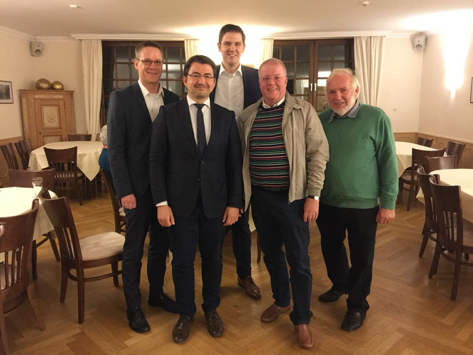 v.l.n.r.: Thorsten Baumgart, Christian Sauter, Patrick Büker, Dr. Ulrich Klotz (FDP-Kandidat zur Europawahl 2019) und Gerhard Blumenthal