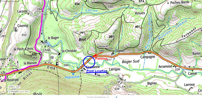 Plan ACCOB pour visite des aqueducs Napoléon III sur rivière l'Ourtau au Bager sud d'Oloron