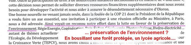 Le Président de la République félicite le Maire d'Oloron qui flingue environnement ! L'ACCOB va l'interpeller !!!