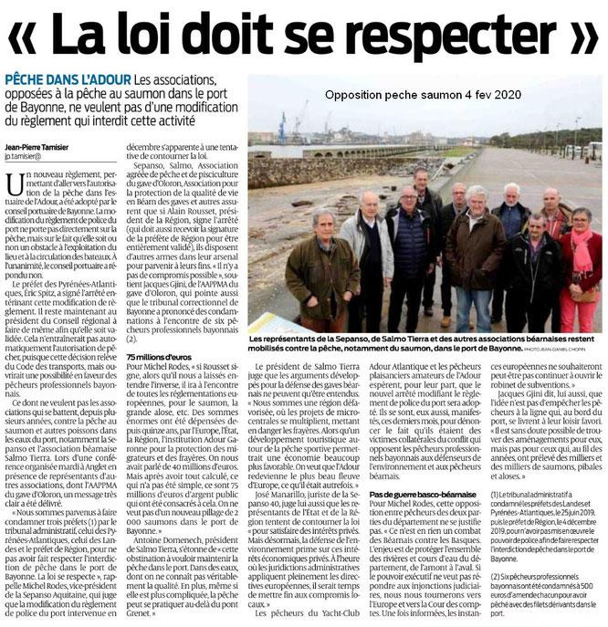 L'association ACCOB en soutien à la défense de la pêche du saumon dans le port de Bayonne et la sauvegarde des gaves et forêts au Bager d'Oloron