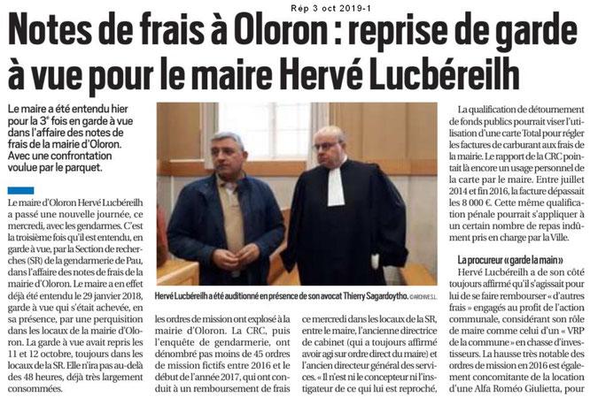 Le Maire d'Oloron Ste Marie, Hervé Lucbérheil remis en garde à vue pour des notes de frais qui seraient du faux.