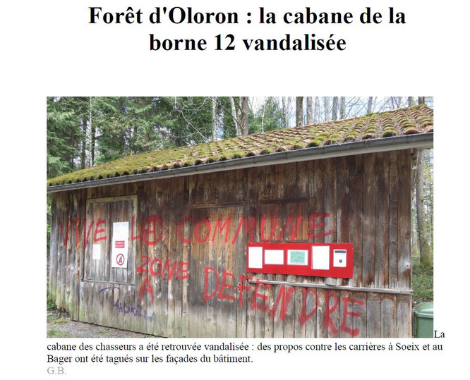 La cabane de l'ONF taguée - Oloron