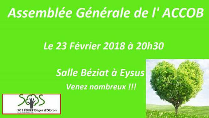 AG le 23 février 2018 à 20h30 salle des fêtes d'Eysus