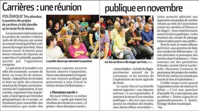 Les projets de carrières à Oloron, sujet explosif en Conseil Municipal