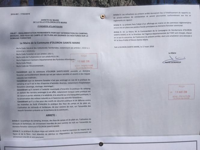 Un arrêté du 18 mars, affiché le 18 mars ! quelle précipitation de la part de M. Lucbéreilh !!! Eric Pététin serait-il l'homme visé ? Pététin serait-il visé ?