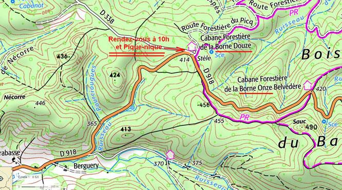 Plan ACCOB pour venir au Rendez-vous à la Borne 12 pour la visite des aqueducs Napoléon III