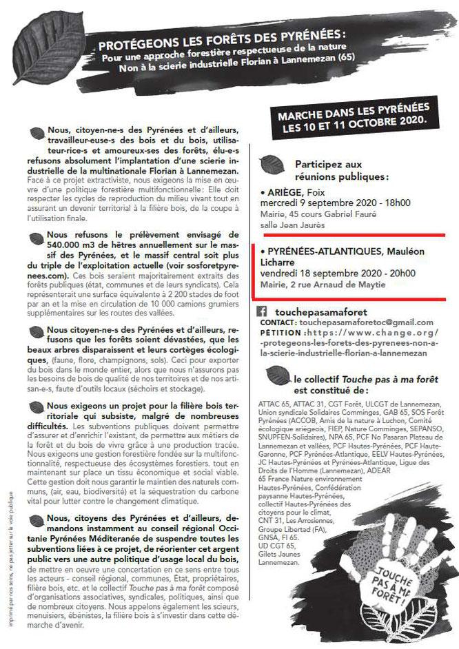 Réunion Publique pour information sur le danger du Projet Florian pour nos forêts des Pyrénées- Avec ACCOB d'Oloron
