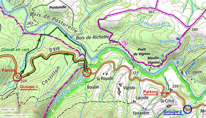 Plan ACCOB pour visite des aqueducs Napoléon III sur ruisseaux de Rachette et Termy + Gave d'Ossau au Bager sud d'Oloron