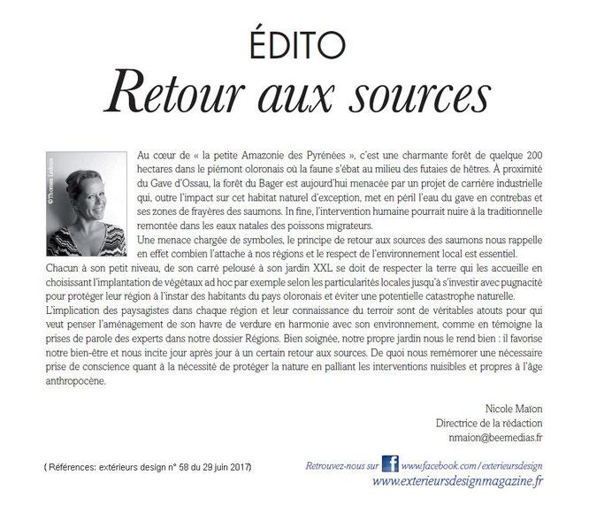 On parle du Bager d'Oloron sur www.exterieursdesignmagazine.fr du côté de Paris.