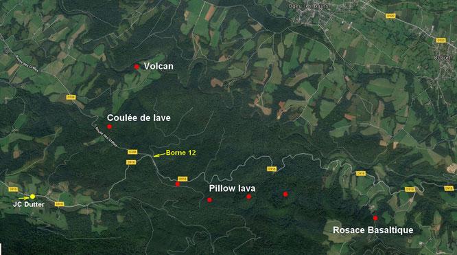 Carte situant appriximativement certains points géologiques remarquables en forêt du Bager d'Oloron et Arudy
