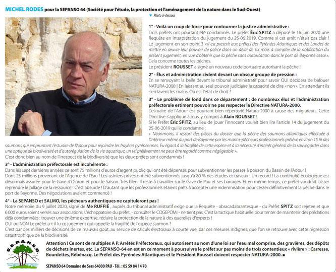 Michel Rodes SEPANSO64 explique la position de l'association relative à la survie du saumon Atlantique dans nos gaves, etc...