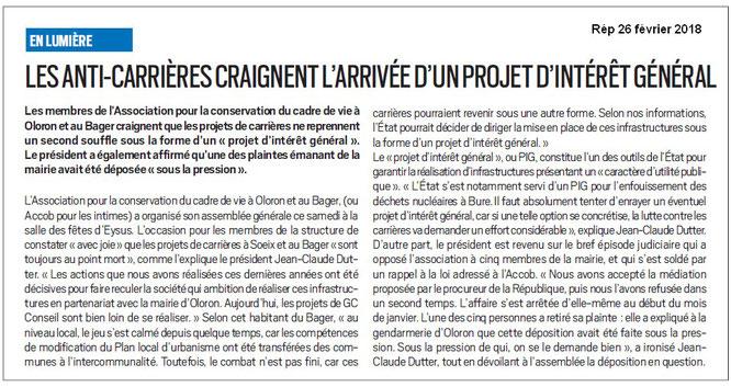 Article de presse de la République des Pyrénées sur l'AG de l'ACCOB de février 2018 à Oloron Ste Marie