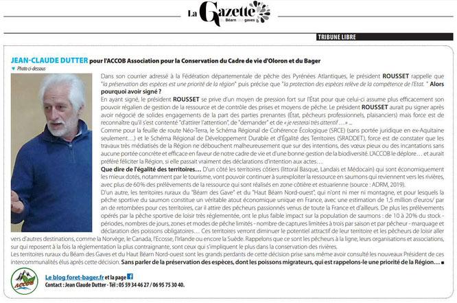 L'ACCOB (Association de protection de la nature à Oloron) relève la position inquiétante d'Alain Rousset qui aurait dû manoeuvrer autrement selon l'avis de l'Association.