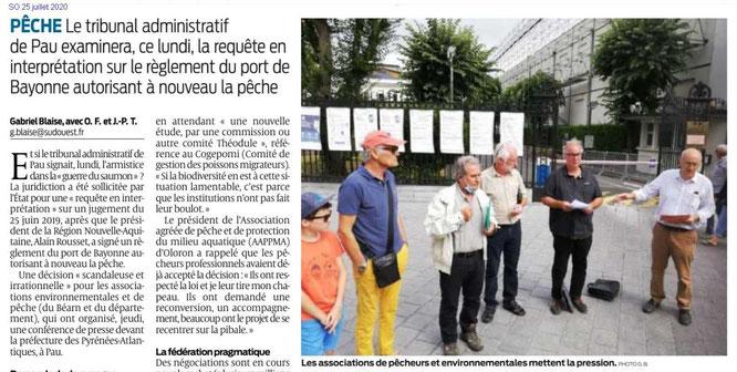 La Guerre du saumon-Associations devant la Préfecture (Sepanso- Salmo-ACCOB-APQV-APPMA,etc...°25 juillet 2020