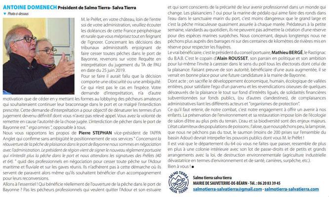Intervention de Antoine Domenech sur l'affaire des saumons au pays basque