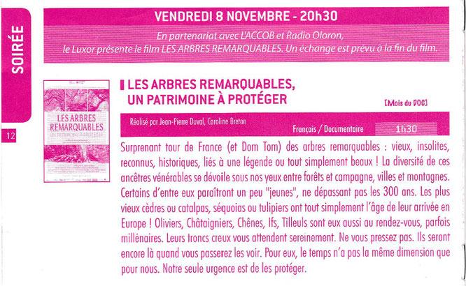Les Arbres Remarquables de Georges Féterman, Président de l'assoc ARBRES. Projection à Oloron pour l'anniversaire de la remise du Label à l'association ACCOB
