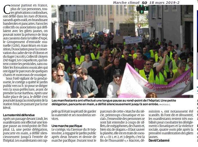 Marche pour le climat par Sud Ouest- L'ACCOB est présente à Oloron pour manifester