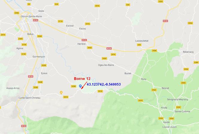 Venir à la Borne 12 dans la forêt du Bager d'Oloron-Ste-Marie. Point symbolique de décence de la forêt du Bager.