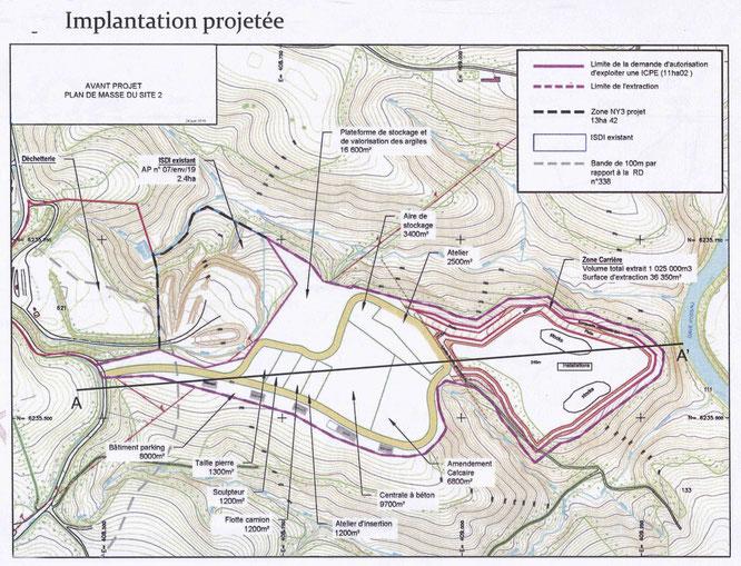 Implantation de la carrière à Soeix et des 5 bâtiments, plus des aires de stockage-Centrales à béton, concassage/broyage des déchets