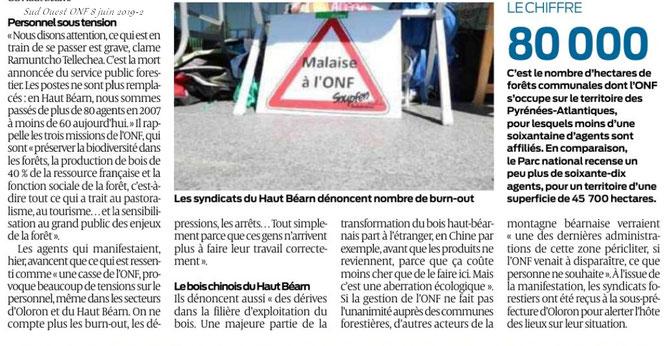 Article sur Sud Ouest  sur Manifestation ONF à Oloron en soutien au mouvement national., soutenu par l'ACCOB d'Oloron et SEPANSO64 de Pau.
