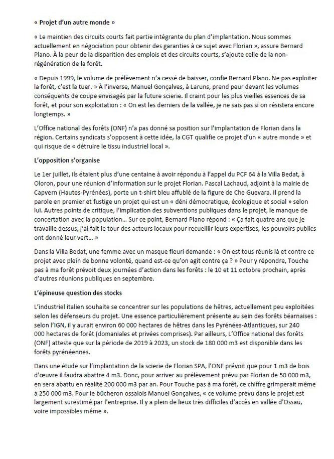Le projet de Méga-scierie Florian inquiète la filière bois tout au long de la chaîne des Pyrénées. Cette fois en Vallée d'Ossau. Page-3