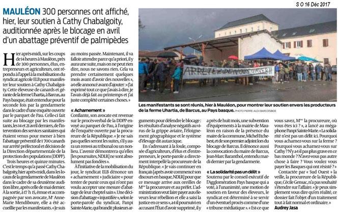 Article du Sud Ouest sur la manifestation à Mauléon. ACCOB présente.