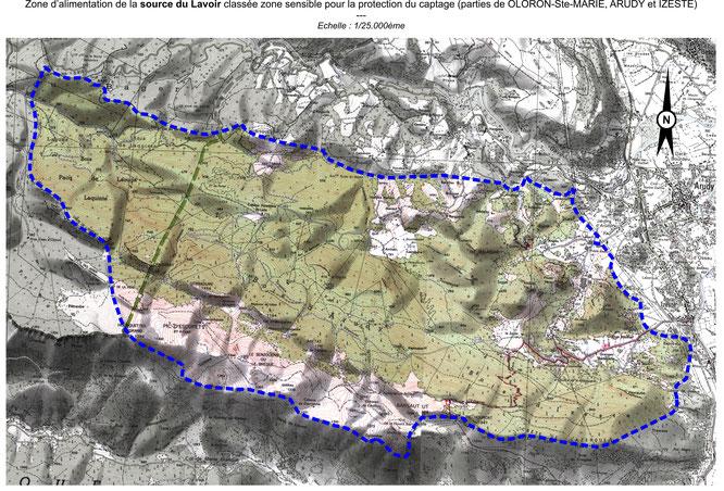 Le plan précédent incluait les zones Izeste, Arudy et bois du Bager où s'infiltrent les eaux pluviales qui alimentent l'immense aquifère situé en dessous.