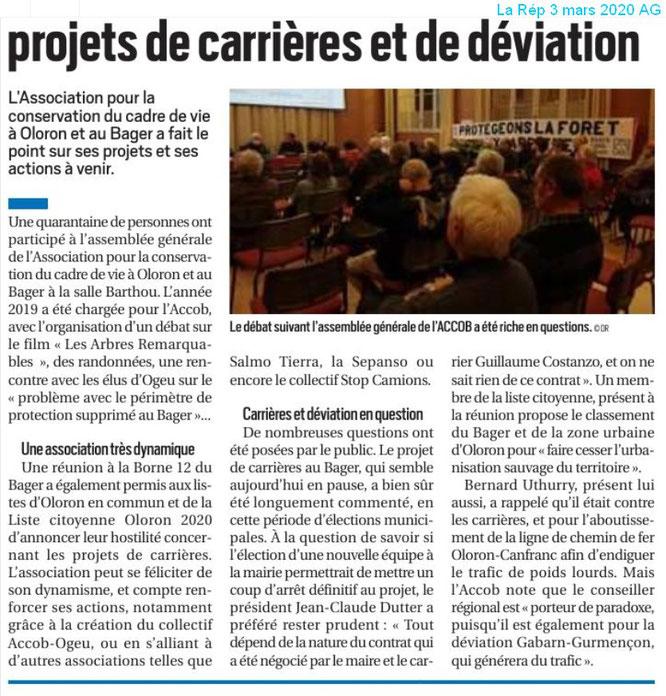 On parle de l'association ACCOB à Oloron sur la République des Pyrénées 3 mars 2020