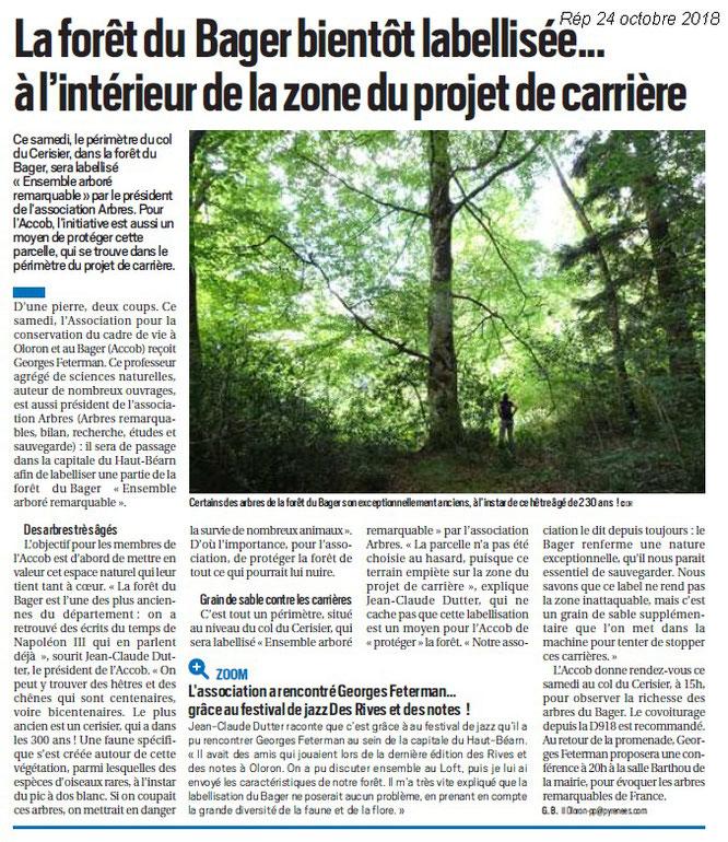 Article du 24 octobre sur la République : Rappel pour Labellisation forêt du Bager d'Oloron au Bager avec L'ACCOB et A.R.B.R.E.S.