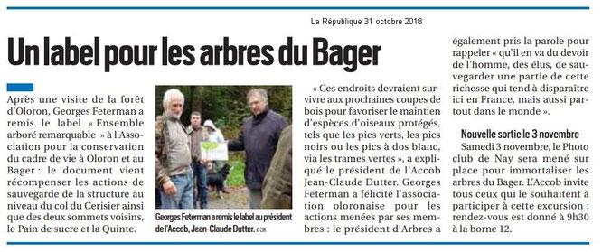 La République des Pyrénées fait part de la remise du Label attribué par Georges FETERMAN à l'association Oloronaise ACCOB