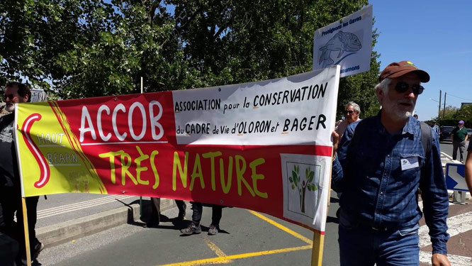 Manifestation à Bayonne contre la pêche illégale du saumon et les risques pour les frayères du Bager d'Oloron sur le gave d'Ossau avec les projets de carrières sur 261 hectares de forêt.