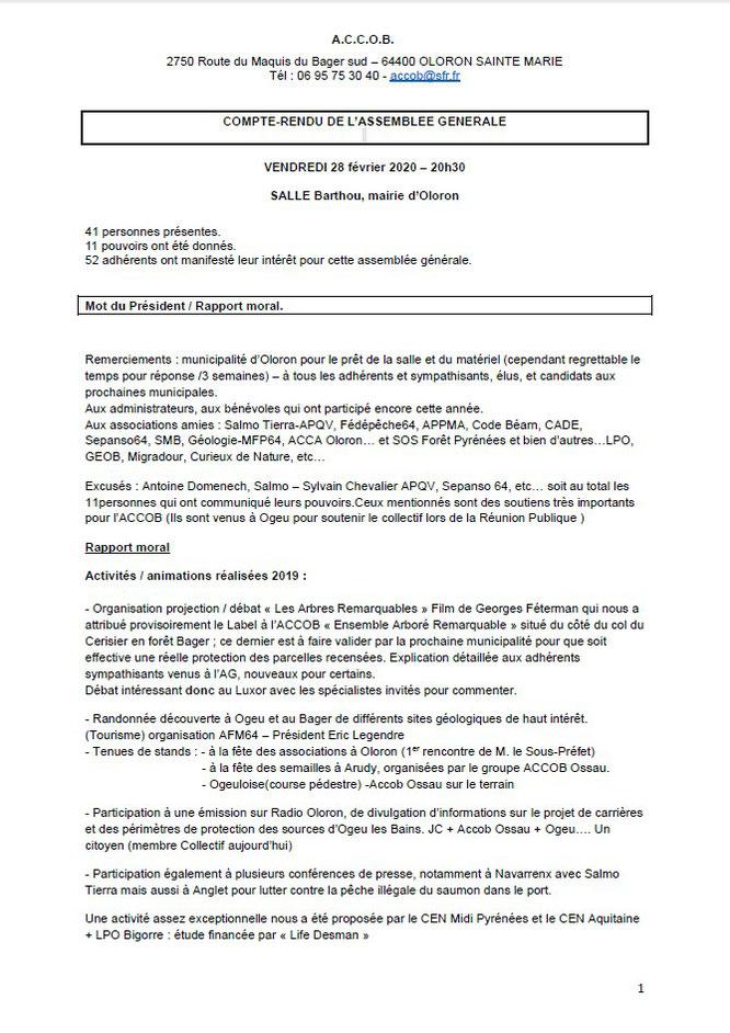Compte rendu de l'AG 2019 - Association pour la Conservation du Cadre de vie d'Oloron et du Bager-Page 1/7