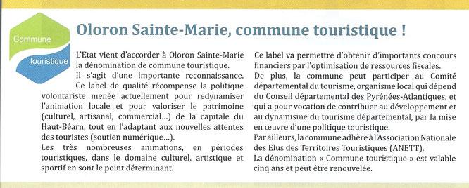 """Label """"Commune Touristique"""" à Oloron-Sainte-Marie"""