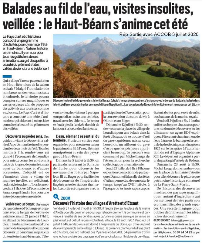 Les animations du Pays d'Art et d'Histoire d'Oloron dont une rando avec l'ACCOB (Journal République des Pyrénées du 2 juillet 2020)